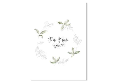DesignClaud Huwelijksposter Krans botanisch - Huwelijkscadeau gepersonaliseerd