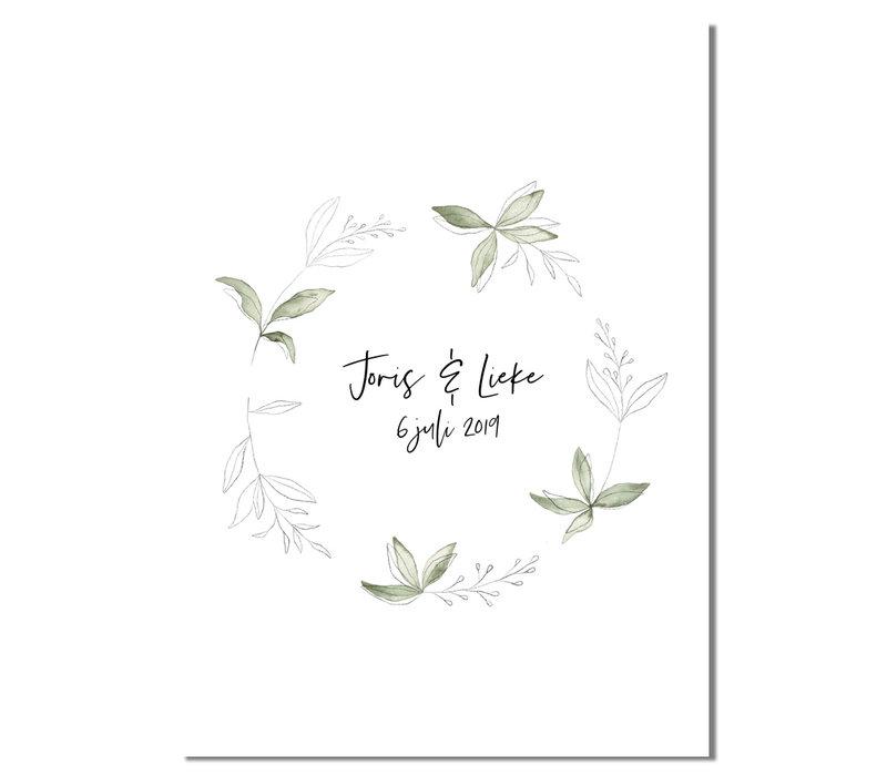 Huwelijksposter Krans botanisch - Huwelijkscadeau gepersonaliseerd