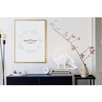 Huwelijksposter Krans zwart wit - Huwelijkscadeau gepersonaliseerd