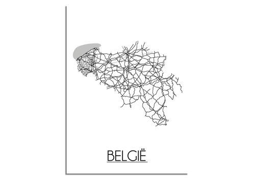 DesignClaud België Plattegrond poster