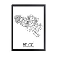 België Plattegrond poster
