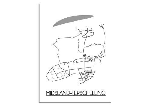 DesignClaud Midsland-Terschelling Plattegrond poster