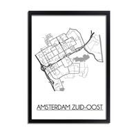 Amsterdam Zuid-Oost Plattegrond poster