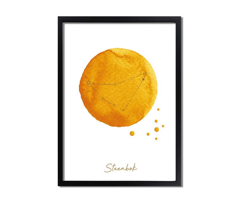 FOLIEDRUK Sterrenbeeld poster Steenbok - Geel