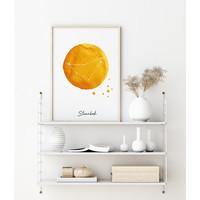 Sterrenbeeld poster Steenbok - Geel