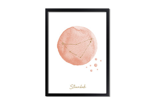 DesignClaud FOLIEDRUK Sterrenbeeld poster Steenbok - Roze