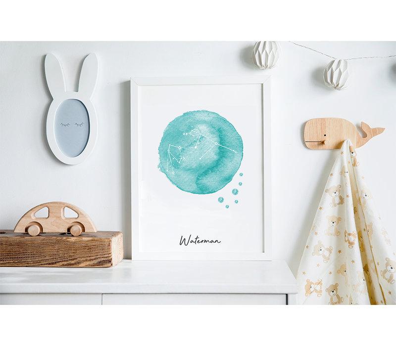 Sterrenbeeld poster Waterman – Blauw