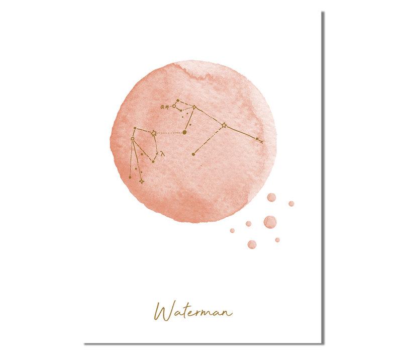 FOLIEDRUK Sterrenbeeld poster Waterman - Roze