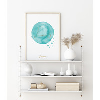 FOLIEDRUK Sterrenbeeld poster Vissen – Blauw