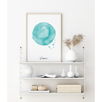 Sterrenbeeld poster Vissen – Blauw