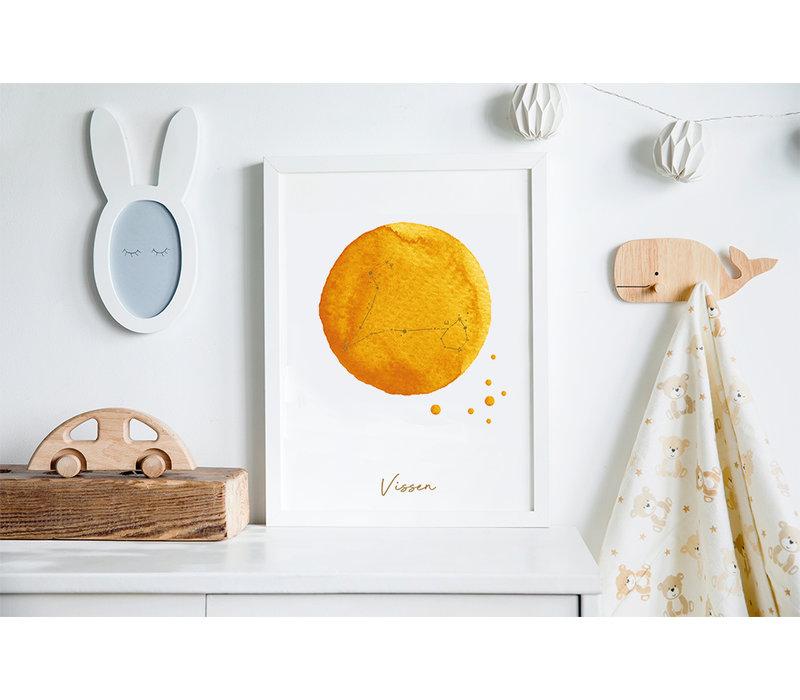 FOLIEDRUK Sterrenbeeld poster Vissen – Geel