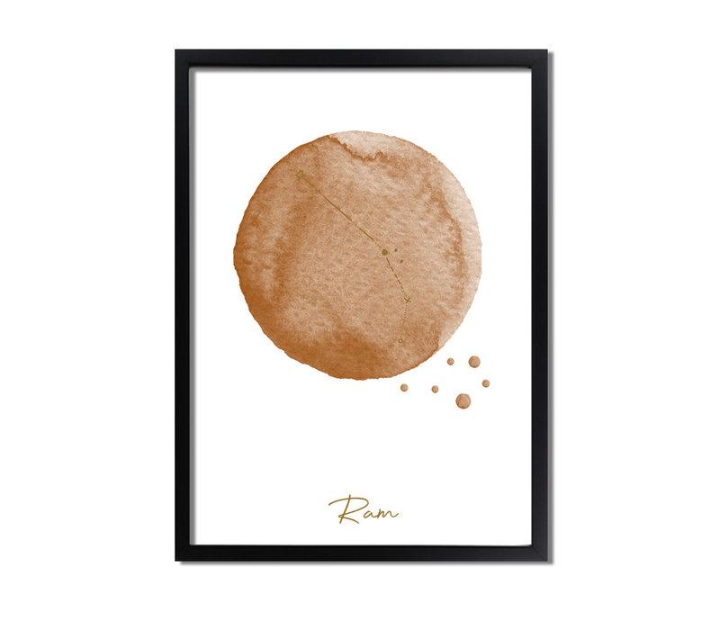 FOLIEDRUK Sterrenbeeld poster Ram – Bruin