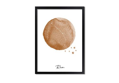 DesignClaud Sterrenbeeld poster Ram – Bruin