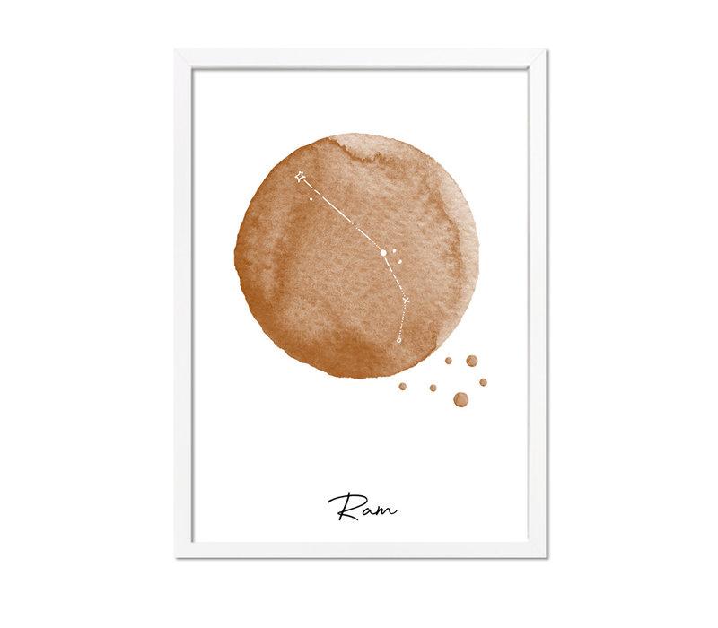 Sterrenbeeld poster Ram – Bruin