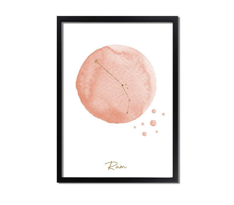 FOLIEDRUK Sterrenbeeld poster Ram – Roze
