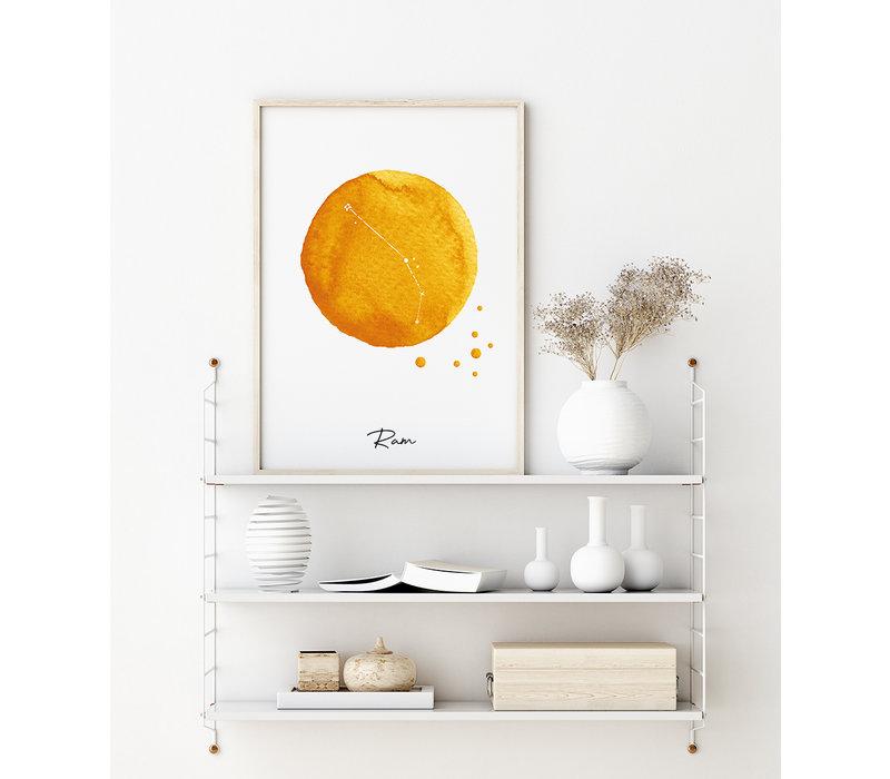 Sterrenbeeld poster Ram – Geel