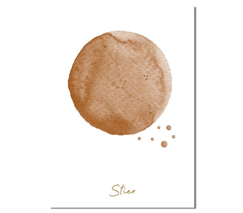 FOLIEDRUK Sterrenbeeld poster Stier – Bruin