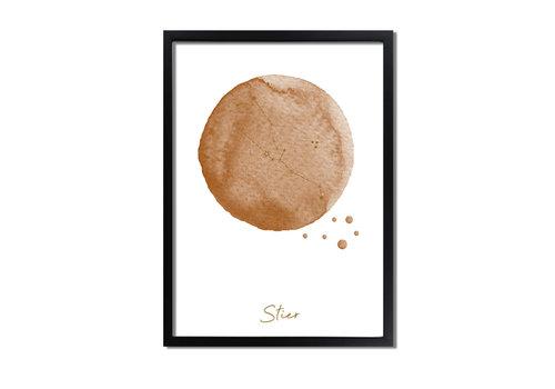 DesignClaud FOLIEDRUK Sterrenbeeld poster Stier – Bruin