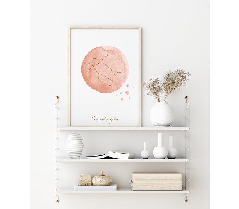 FOLIEDRUK Sterrenbeeld poster Tweelingen – Roze