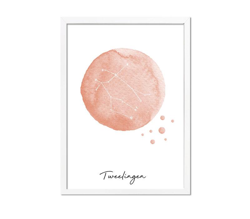 Sterrenbeeld poster Tweelingen – Roze