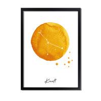 Sterrenbeeld poster Kreeft – Geel