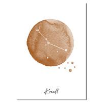 Sterrenbeeld poster Kreeft – Bruin