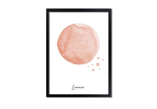 DesignClaud Sterrenbeeld poster Leeuw – Roze
