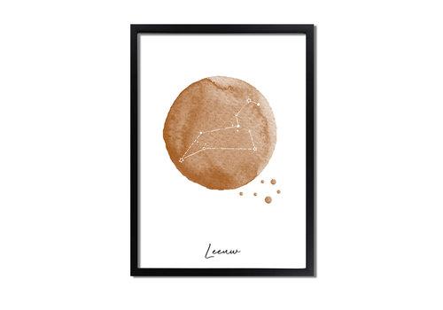 DesignClaud Sterrenbeeld poster Leeuw – Bruin