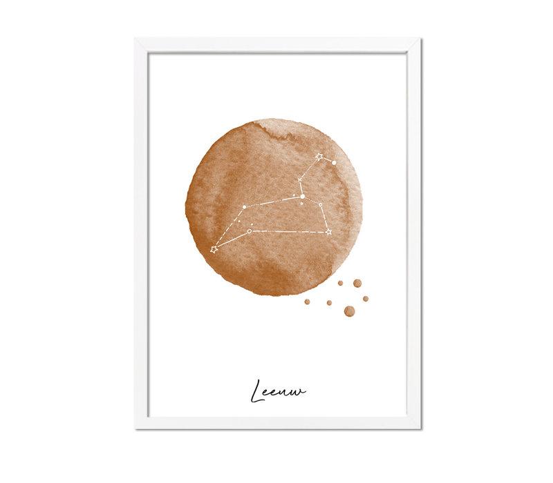 Sterrenbeeld poster Leeuw – Bruin