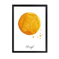 Sterrenbeeld poster Maagd – Geel