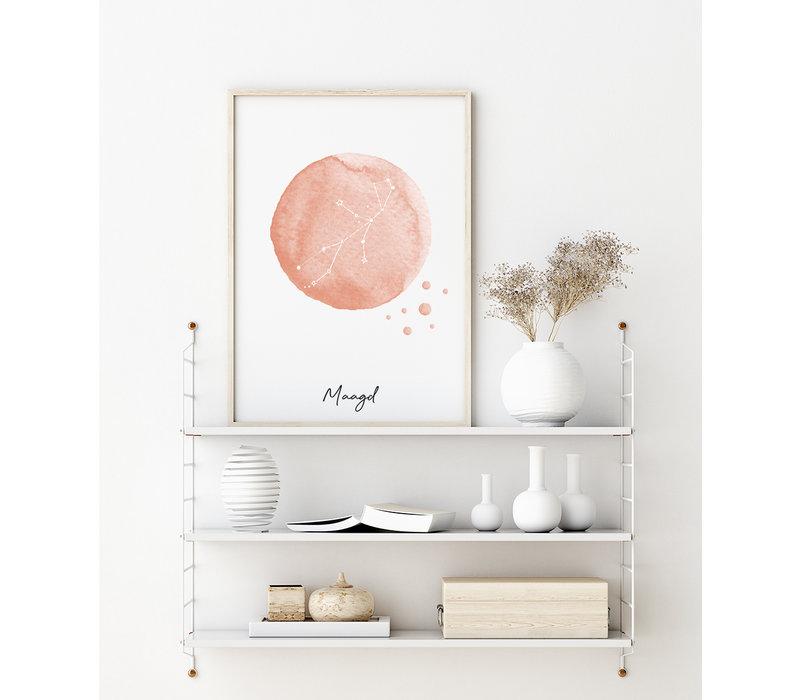 Sterrenbeeld poster Maagd – Roze