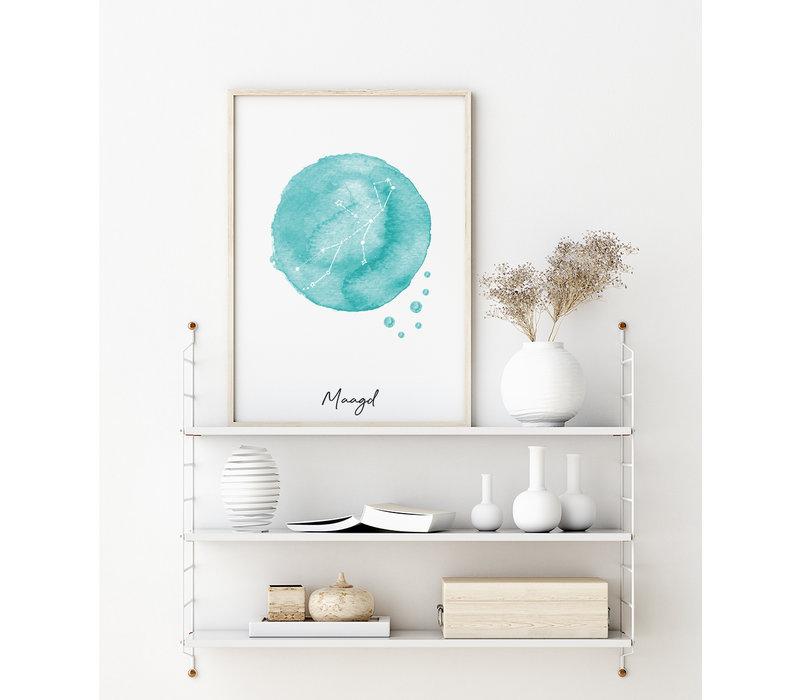 Sterrenbeeld poster Maagd – Blauw