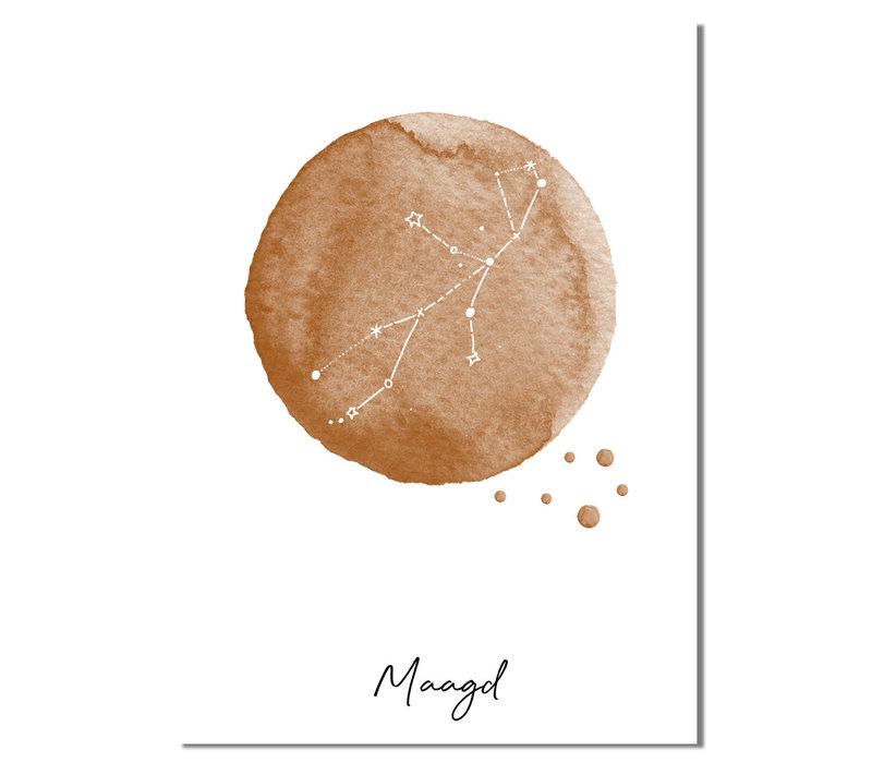Sterrenbeeld poster Maagd – Bruin