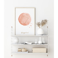 FOLIEDRUK Sterrenbeeld poster Weegschaal – Roze