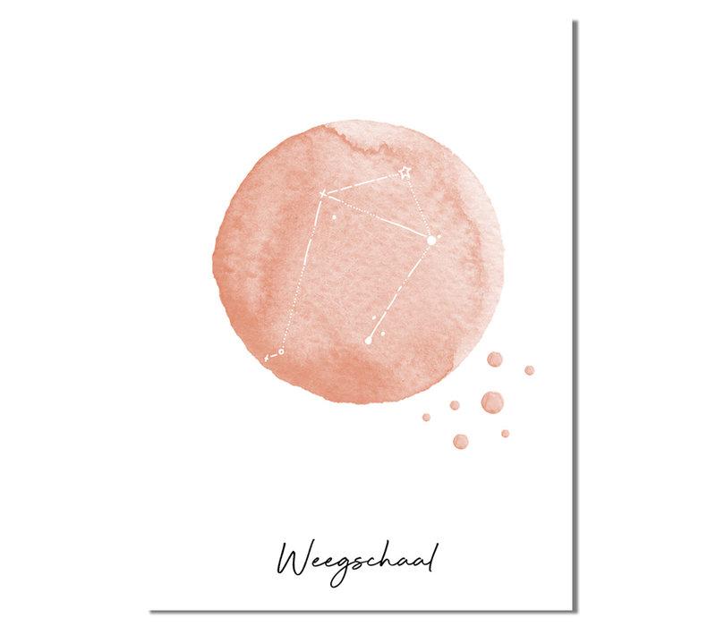 Sterrenbeeld poster Weegschaal – Roze