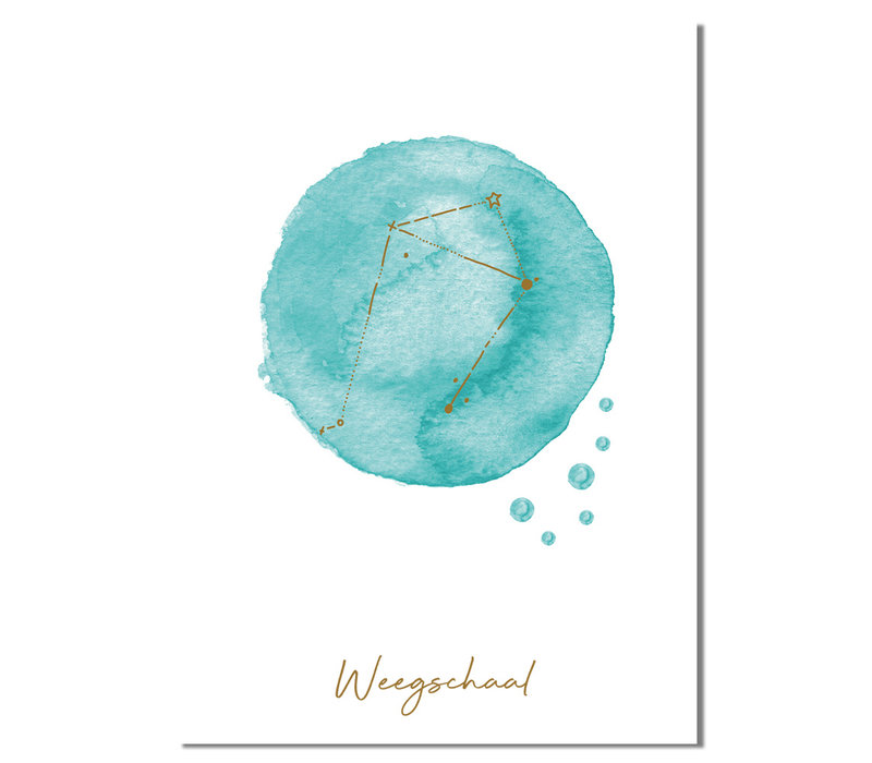 FOLIEDRUK Sterrenbeeld poster Weegschaal – Blauw