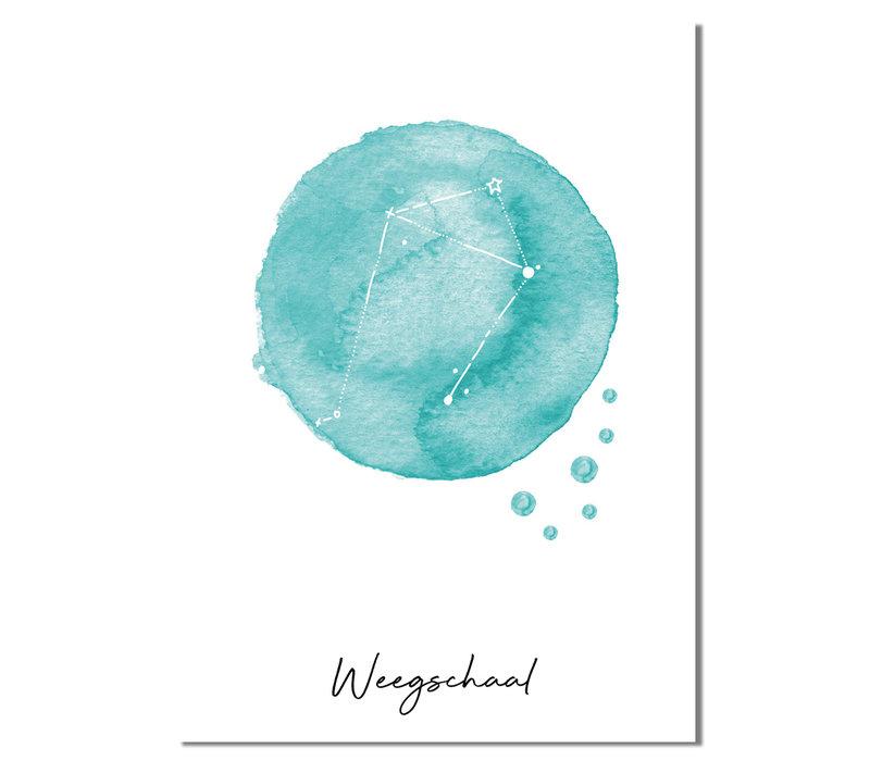 Sterrenbeeld poster Weegschaal – Blauw