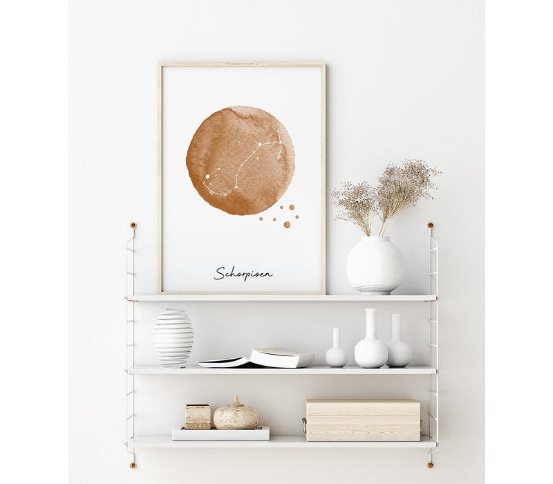 Sterrenbeeld poster Schorpioen – Bruin