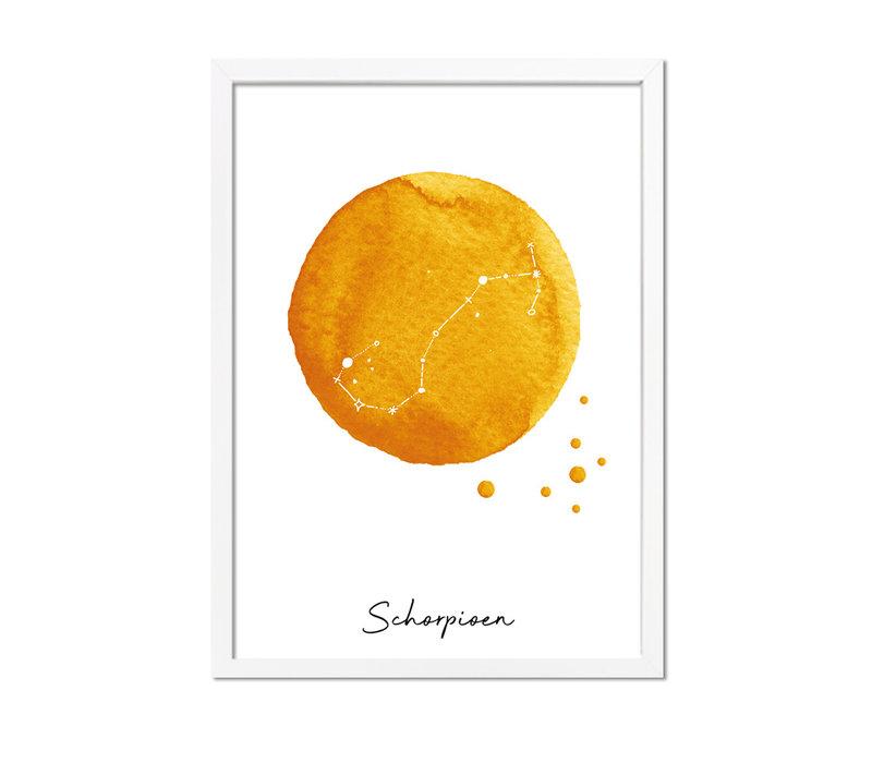 Sterrenbeeld poster Schorpioen – Geel