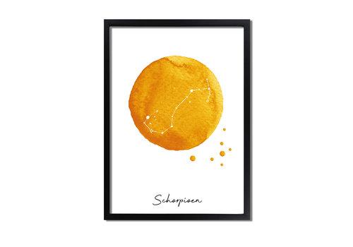 DesignClaud Sterrenbeeld poster Schorpioen – Geel