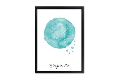 DesignClaud Sterrenbeeld poster Boogschutter – Blauw