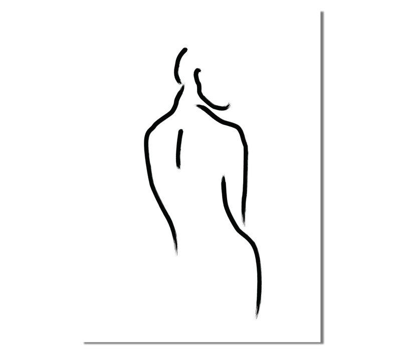 'Vrouw' zwart wit poster Line Art