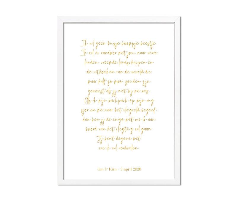 Huwelijksgeloften Poster Goudfolie - Trouwposter Huwelijkscadeau gepersonaliseerd