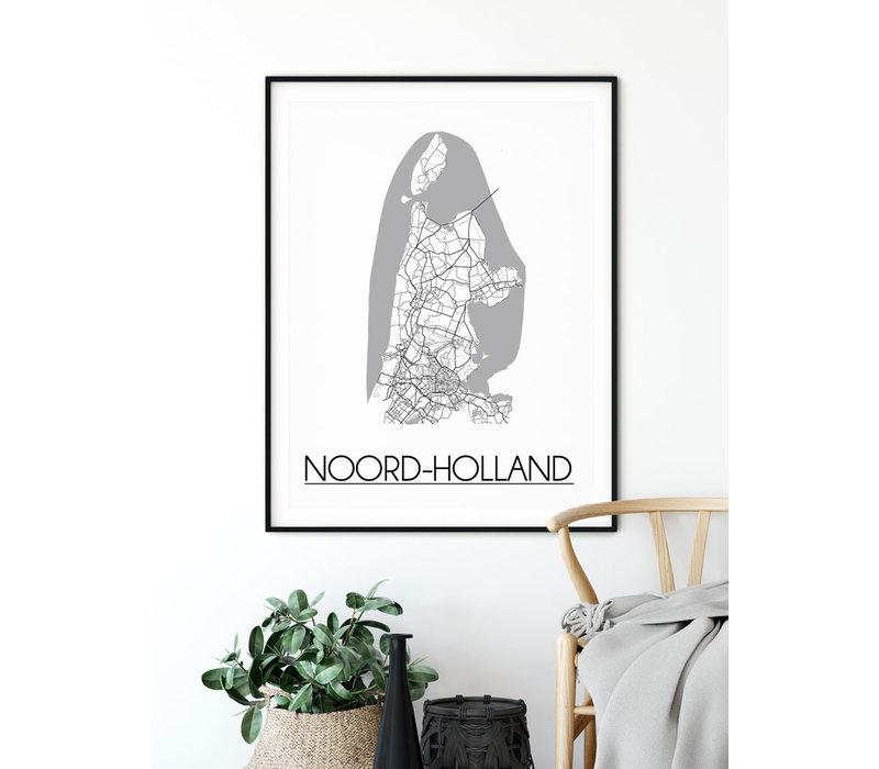 Noord Holland Plattegrond poster