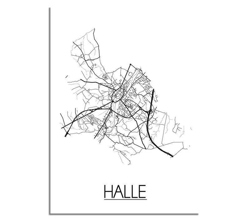 Halle België Plattegrond poster