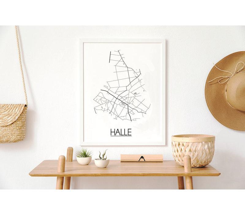 Halle Plattegrond poster