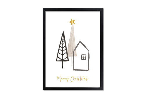 DesignClaud Kerstposter Merry Christmas Kerstster Goudfolie