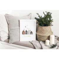 Kerstposter Merry Christmas Huisjes Goudfolie