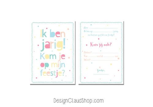 DesignClaud Setje Uitnodigingen Kinderfeestje kleurrijk - 12 stuks