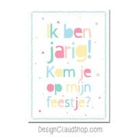 Setje Uitnodigingen Kinderfeestje kleurrijk - 12 stuks